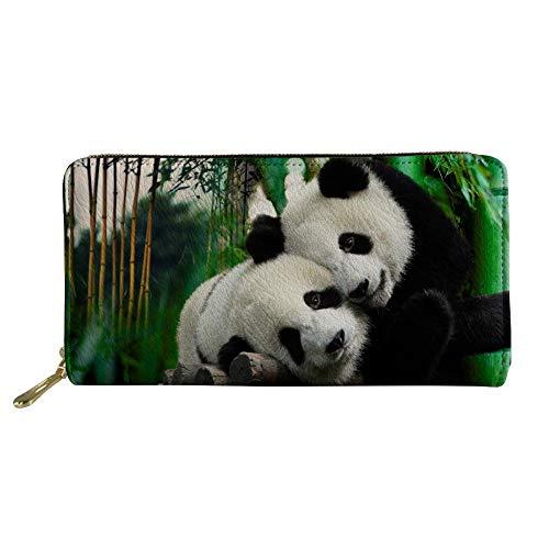 HUGS IDEA Panda Long Wallet Animals Print PU Leather Clutch with Zipper Travel Purse Card Coin Organizer (Women Wallet Animal Print)