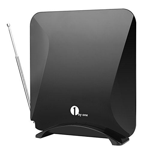 1byone Amplified Indoor HDTV Antenna for UHF / VHF / FM with Stand, 40 Miles Range with Detachable 20dB Amplifier USB Power Supply, 10 Feet High Performance Cable