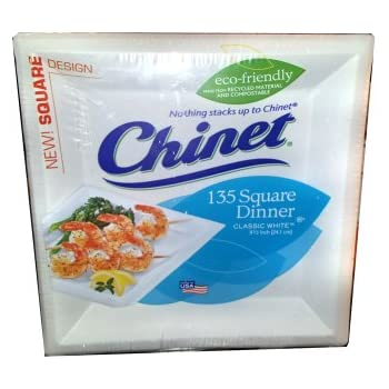 Amazon.com: Chinet Eco-Friendly Square Paper Dinner Plates 135 ct ...