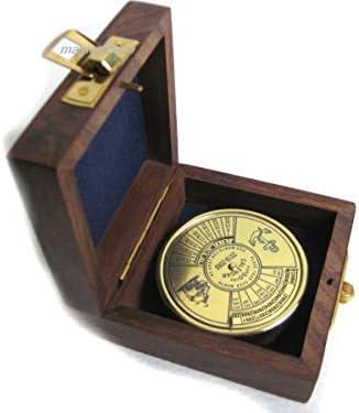 Immerwährender Kalender-Jedes-Jahr-Kalender-ewiger Kalender-Messing in Holzbox
