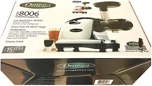 Omega J8006 Nutrition Center Juicer, 200-Watt, Metallic