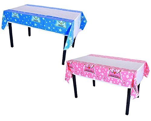 Honbay 2pcs Disposable Plastic Rectangular Prince and Princess Crown Birthday Table Cloth Table Cover Blue and Pink ()