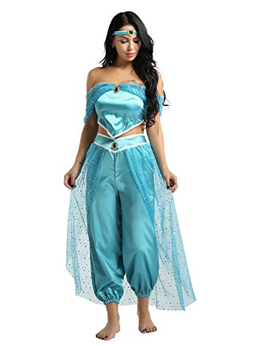 Agoky Women's 3Pcs Sparkly Sequins Princess Cosplay Costumes Crop Tops Long Pants Headband Sets Halloween Party Outfits Blue Small -