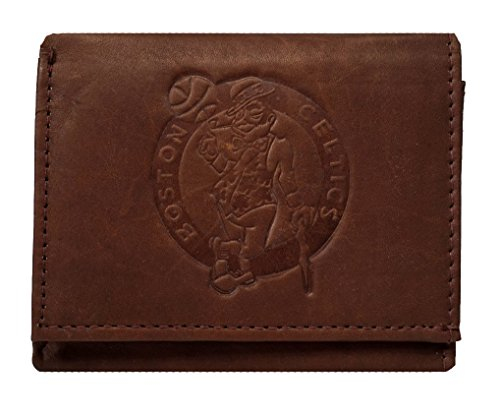 Boston Celtics NBA Embossed Logo Dark Brown Leather Trifold Wallet (Celtics Boston Clip)