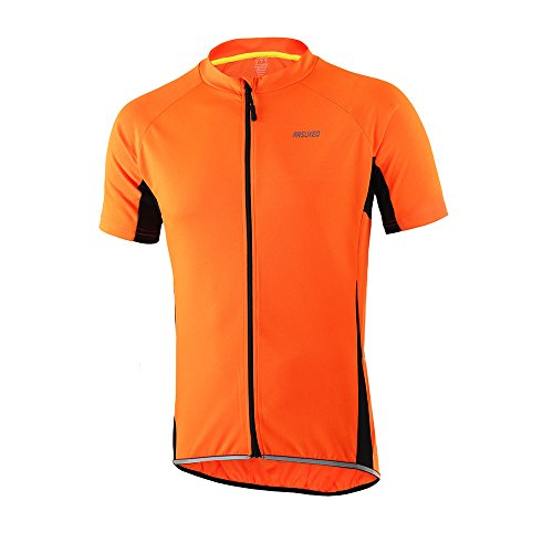 - ARSUXEO Men's Slim Fit Cycling Jersey Short Sleeves Bike Bicycle MTB Shirt Orange Size X-Large