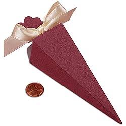 "Burgundy Cone Favor Box | Quantity: 25 | Width: 1 1/2"""