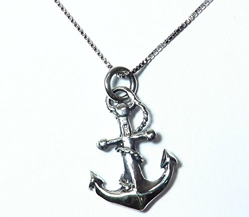 - Sterling Silver Rhodium Plated Ship Anchor and Rope Necklace Pendant with 18