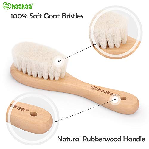 Haakaa Wooden Baby Hair Brush for Newborns and Toddlers Baby Brush Natural Soft Goat Bristles Hairbrush, Ideal for Cradle Cap, Perfect Baby Registry Gift with Carry Pouch, 1PC