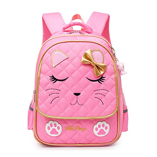 Hyundly Cute Cat Face Bowknot Teen Girls School Backpacks For Primary School Bookbag And Outdoor Traveling Daypack (Medium, - Girls Cute With