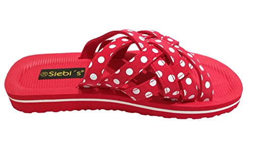 Siebi's BEACH WHITE DOTS BEACH shoes Mules and Casual Shoes Ladies Red PXQEczwZFL
