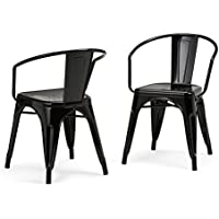 Simpli Home Larkin Metal Dining Arm Chair, Black (Set of 2)
