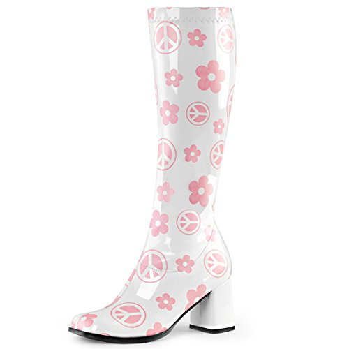 (Womens White Boots Pink Flowers Peace Signs Go Go Boots Knee High 3 Inch Heels Size:)