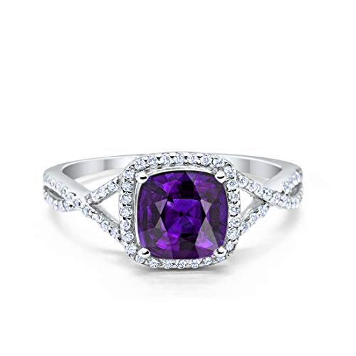 Blue Apple Co. Halo Infinity Shank Engagement Ring Round Cubic Zirconia Cushion Simulated Amethyst 925 Sterling Silver, Size - 6 ()