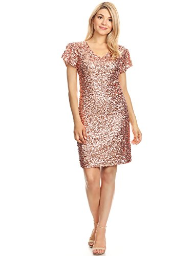 Anna-Kaci Womens Sexy Short Sleeve Sequin Bodycon Mini Cocktail Party Club Dress, Rose Gold, X-Large