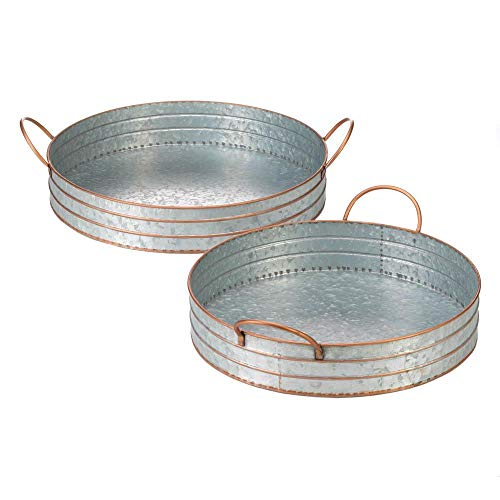 Tolbsplace Home Decor Galvanized Round Metal Tray Duo Garden Decor Farmhouse Kitchen Beverages Food from Tolbsplace