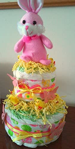pink and yellow baby shower diaper cake centerpiece