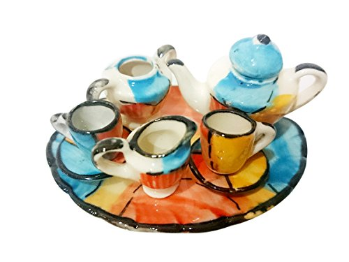 Heathrow Airport Terminal (Sansukjai Tiny Blue Orange Ceramic Plate Bowl Cup Figurines Dollhouse 1:12)