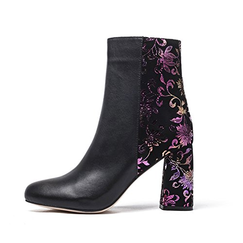 Darco   Gianni Women S Floral Ankle Boots Ladies Sexy Round Toe Block Chunky High Heel Zip Up Dress Elegant Suede Booties  9  Purple B