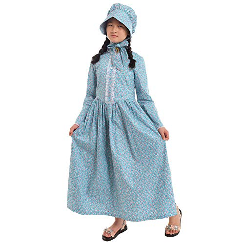 Oregon Trail Halloween Costume (GRACEART Pioneer Costume Colonial Prairie Dress for Girls 100% Cotton)