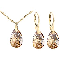 GIFT BOXED! Ah! Jewellery® Women's 16mm Golden Shadow Pear Crystals From Swarovski Necklace & Earring Set, 24k Gold Over Sterling Silver, Stamped 925. 45cm Twisted Chain Included.