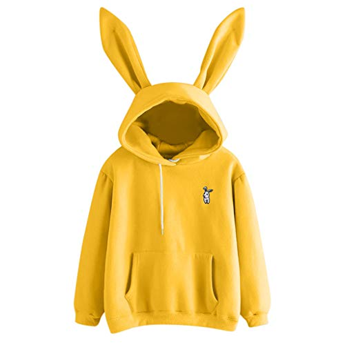 (Sunhusing Ladies Cute Rabbit Ear Long Sleeve Hoodie Solid Color Embroidery Pullover Sweater Yellow)