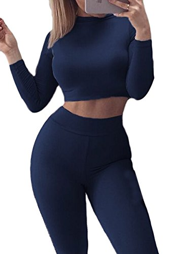[Prograce Ladies Crop Long Sleeve Fitted Shirt Tight Pants Two Pieces Sets Navy M] (Sailor Outfits For Ladies)