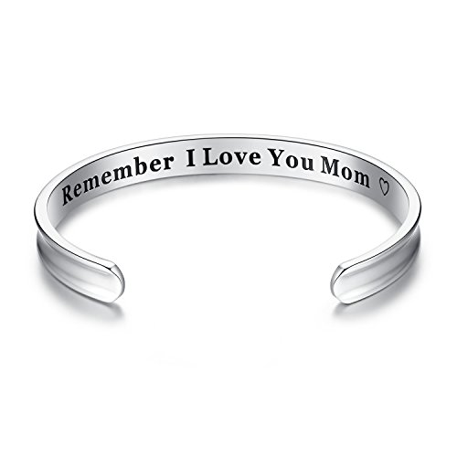 Milamiya For Mother's Day Gifts - 'Remember I Love You Mom' Cuff Bangle Bracelets Jewelry for Women, Birthday Gifts for Mom from Daughter Son, Thanksgiving, Christmas, Anniversary Day Gift (Silver)
