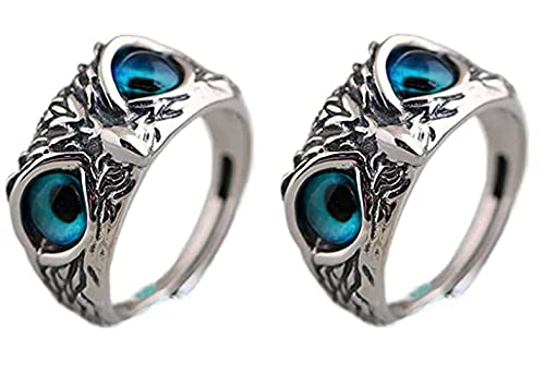Eye Owl Ring- Retro Animal Open Adjustable Ring, Ring Jewelry Gift for Women and Men Lover ,Meaningful Anniversary Rings (A) (owl-2pc)