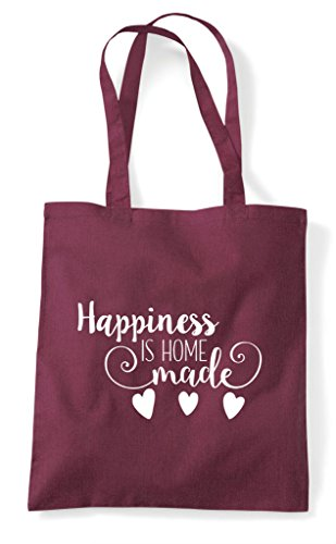 Shopper Tote Made Burgundy Happiness Is Bag Home x6wAv0