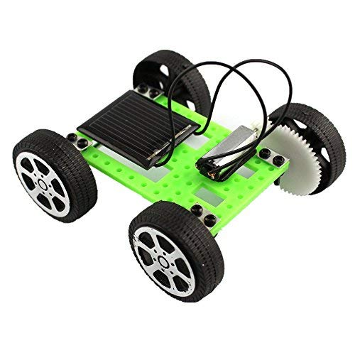 (Fullwei Latest Model 1 Set Mini Solar Powered Toy DIY Popular Science Toy Car Kit Children Educational Gadget Hobby Funny for Kids Gift (Green))