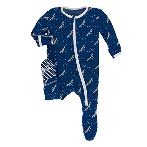 Kickee Pants Little Boys Print Footie Zipper - Navy Dragonfly, 0-3 Months