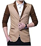 YUNY Men's Long Sleeve Turn-Down Collar Two-Button Pocket Leisure Suit Khaki S
