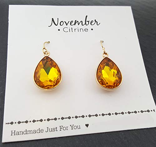 November Birthstone Earrings - Citrine Crystal 14k Gold Filled Teardrop Earrings - Gift for -