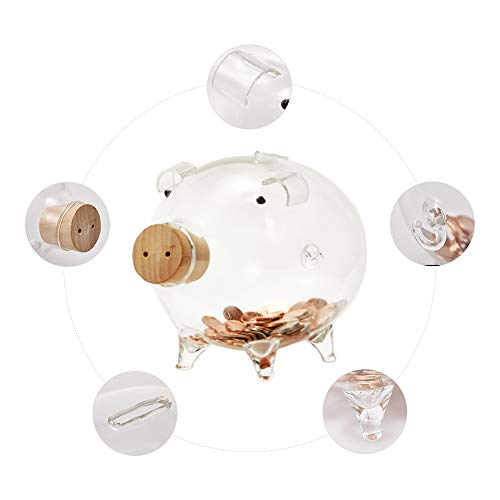 Erreloda Hand-Made Glass Piggy Bank, Large Capacity for Pocket Money Coins, Perfect Decoration, Birthday Gift for Boys and Girls