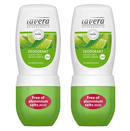 lavera Natural Roll-on Lime Deodorant (Pack of 2): Aluminum-Free Odor Protection & Wetness Relief with Organic and Vegan Lime & Verbena - all Day Fresh - 1.6 Oz