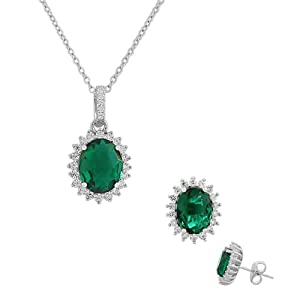 925 Sterling Silver Green Emerald-Tone White CZ Oval Charm Necklace Stud Earrings Set