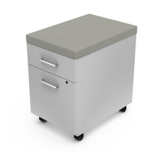 Linea Italia ZUS643PA 2 Drawer Mobile Pedestal with Cushion Cabinet, One Size, White