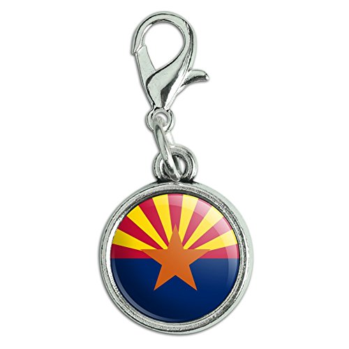 Antiqued Bracelet Pendant Zipper Pull Charm with Lobster Clasp State Flag - Arizona State Flag