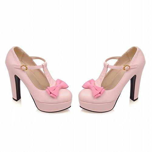 MissSaSa Damen T-Spange Plateau high-heel Pumps mit Schleife modern und bequem Schnalle runde Spitze Kleidschuhe Pink