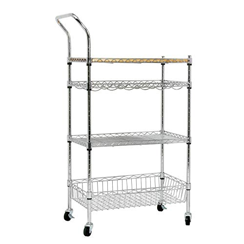 soges Premium Kitchen Rack with Solid Wood Cutting Board, Rolling Kitchen Storage Cart, Bar Serving Trolley Wine Rack, Moving Units for Home, Kitchen, Bathroom, Stainless Steel KS-ZSCS-04 by soges (Image #9)