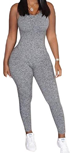 [Honey GD Women's Sexy Bodycon Solid Backless Jumpsuits Playsuit Grey M] (Sexy Jumpsuits For Women)