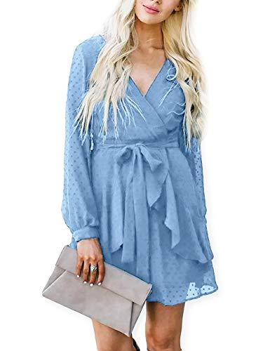 AOOKSMERY Women Cute V Neck Long Sleeve Mini Dresses Solid Polka Dot Swing Dress with Belt Sky Blue
