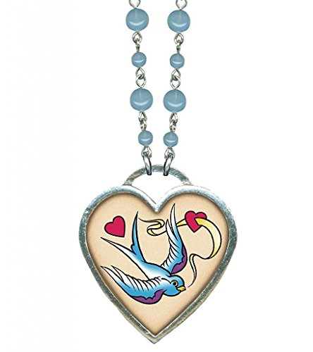 Women's Classic Hardware Large Bird and Heart Necklace With Blue Opal Beads