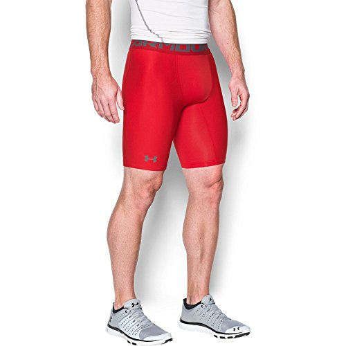 Under Armour Men's HeatGear Armour Long Compression Shorts, Red/Graphite, Large