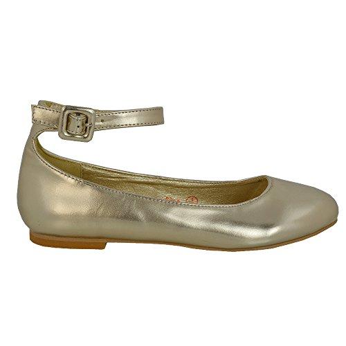 Piatto Oro Sposa Cinturino Donna Sintetico Scarpa Glam Caviglia Metallizzato Ballerina Tacco Essex 681Fx