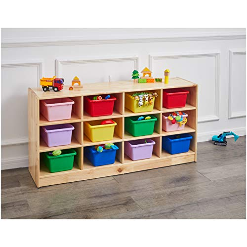 AmazonBasics Wooden 12 Section Horizontal Storage Organizer