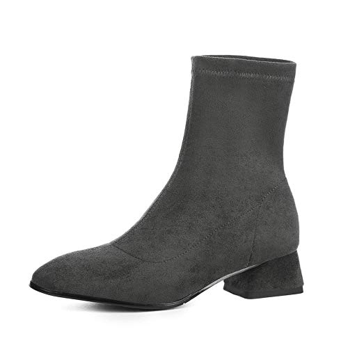 HAOLIEQUAN Vêtements Femme Daim Carré Bottes Chaussettes Chaussures Haut Talon Carré Daim Élégant Chaussures d'hiver Bottes De Moto pour Femmes Grande Taille 34-42 34 4CM gris d82ccf