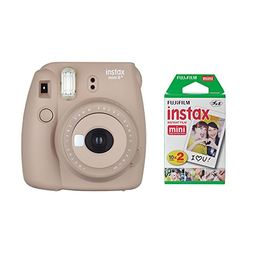 Fujifilm Instax Mini 8+ Instant Film Camera (Cocoa) with Instant Film, 2 x 10 Shoots (Total 20 Shoots) + Colorful Photo Frame Stickers 20 pcs