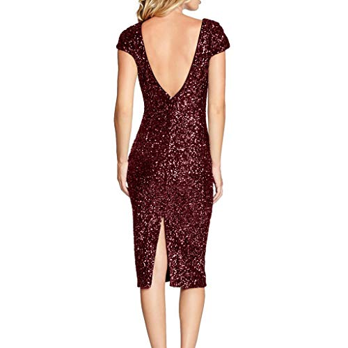 Zolimx Damen Sparkle Glitzy Glam Pailletten-Kurzarm Flapper Party Club Kleid