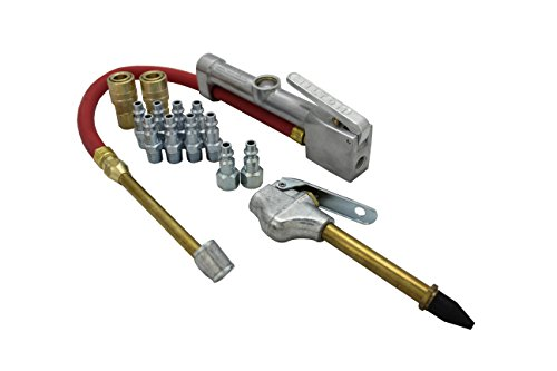 Milton (MK506-2) Inflator Gauge, Blow Gun, and M-Style KWIK-CHANGE Air Coupler & Plug Kit, (14-Piece) ()